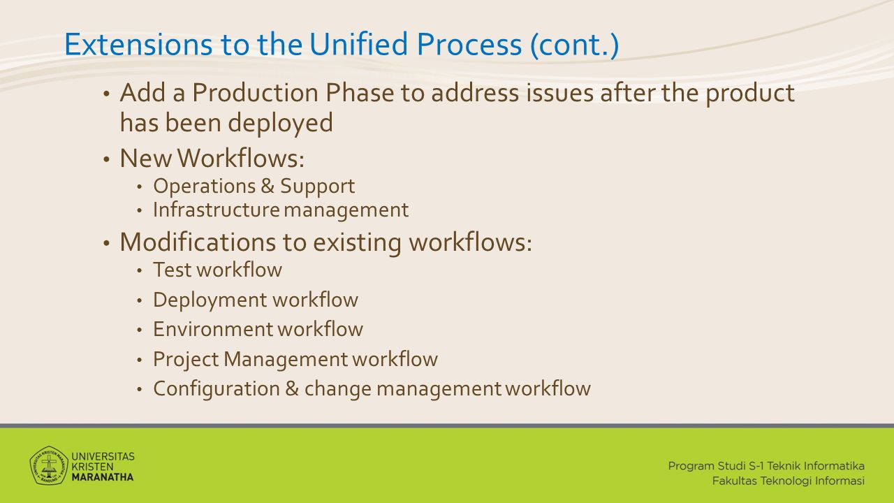 Extensions to the Unified Process (cont.)