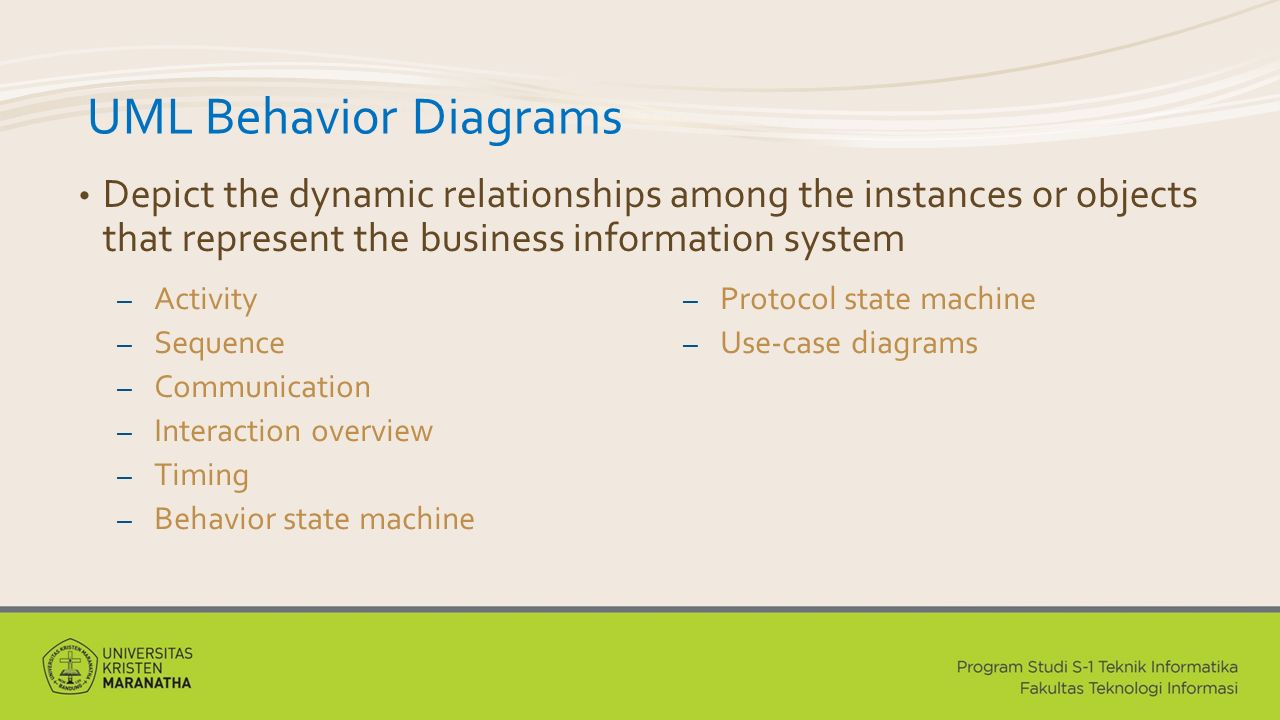 UML Behavior Diagrams Depict the dynamic relationships among the instances or objects that represent the business information system.