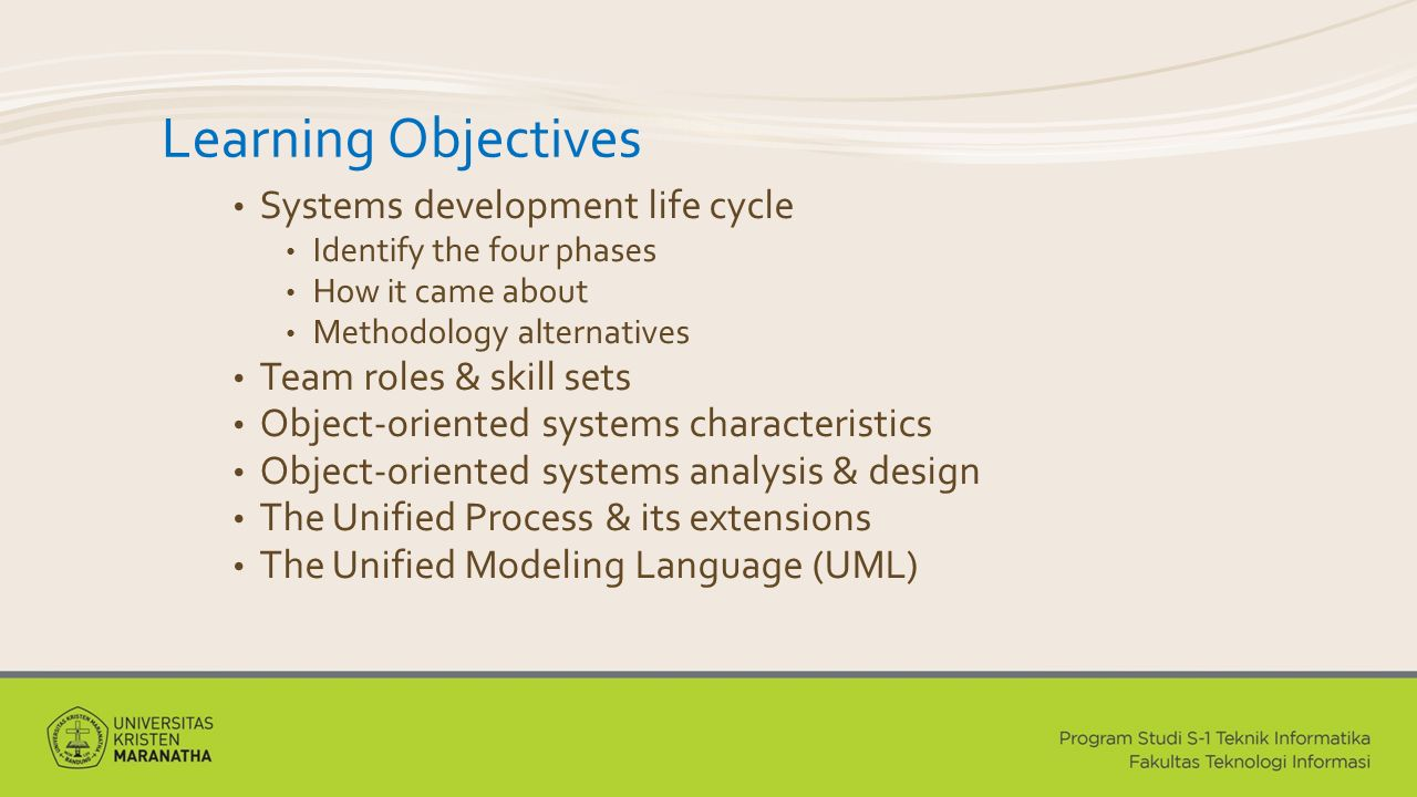Learning Objectives Systems development life cycle