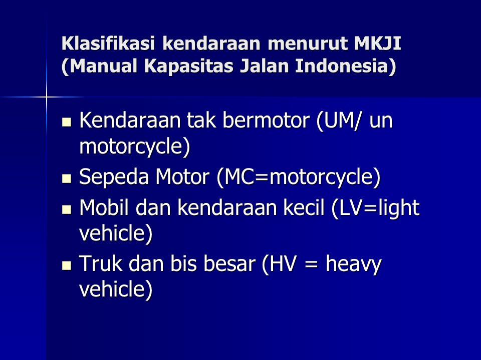 Klasifikasi kendaraan menurut MKJI (Manual Kapasitas Jalan Indonesia)