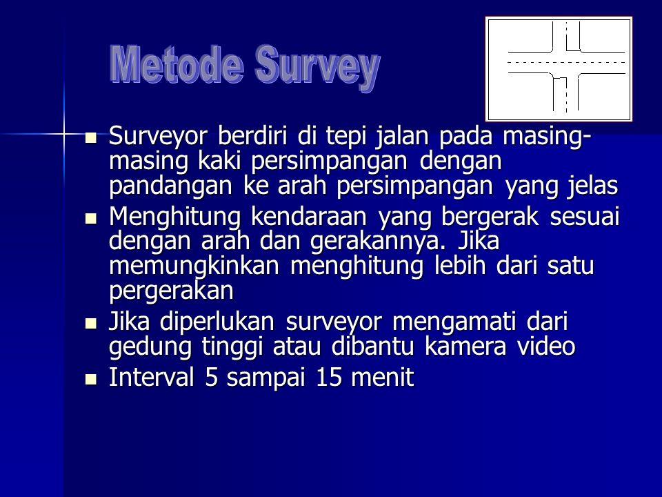 Metode Survey Surveyor berdiri di tepi jalan pada masing-masing kaki persimpangan dengan pandangan ke arah persimpangan yang jelas.