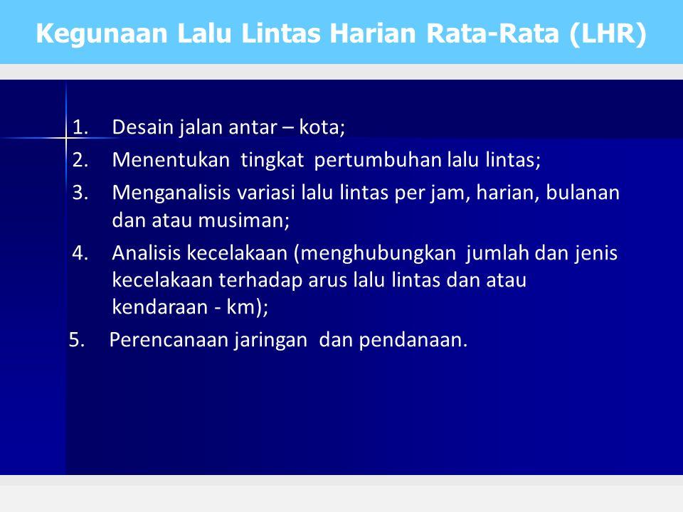 Kegunaan Lalu Lintas Harian Rata-Rata (LHR)