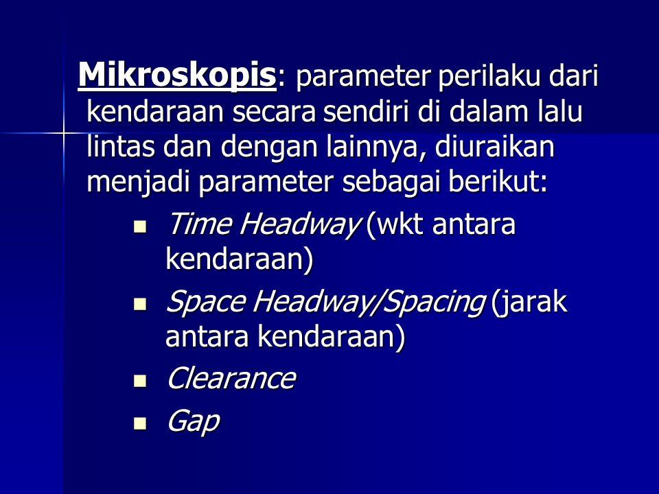 Mikroskopis: parameter perilaku dari kendaraan secara sendiri di dalam lalu lintas dan dengan lainnya, diuraikan menjadi parameter sebagai berikut: