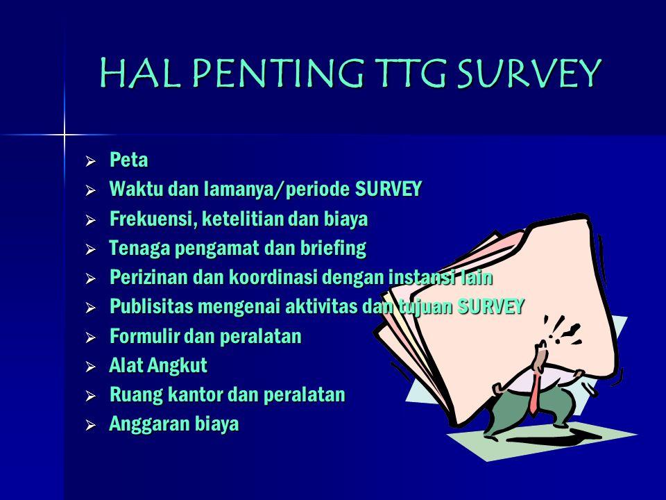 HAL PENTING TTG SURVEY Peta Waktu dan lamanya/periode SURVEY