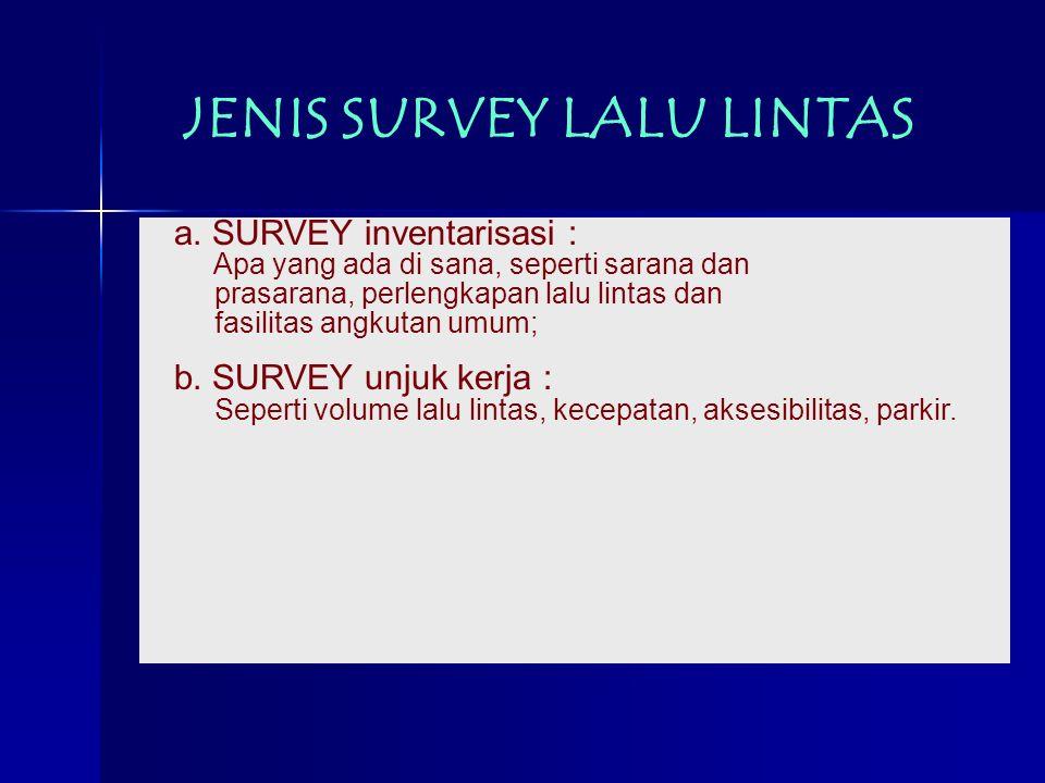 JENIS SURVEY LALU LINTAS