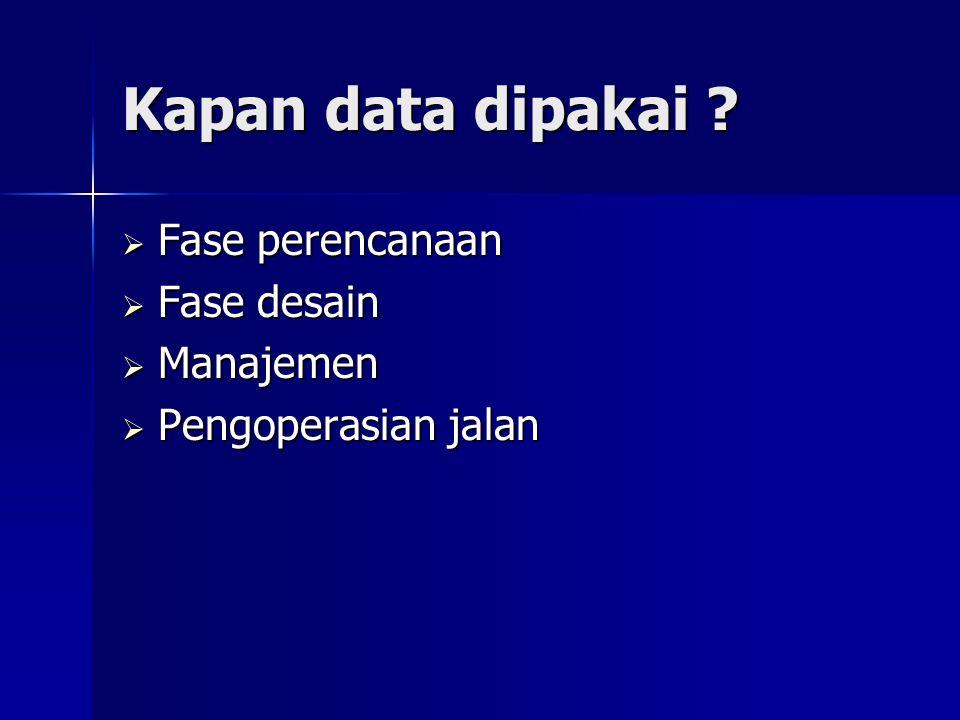 Kapan data dipakai Fase perencanaan Fase desain Manajemen