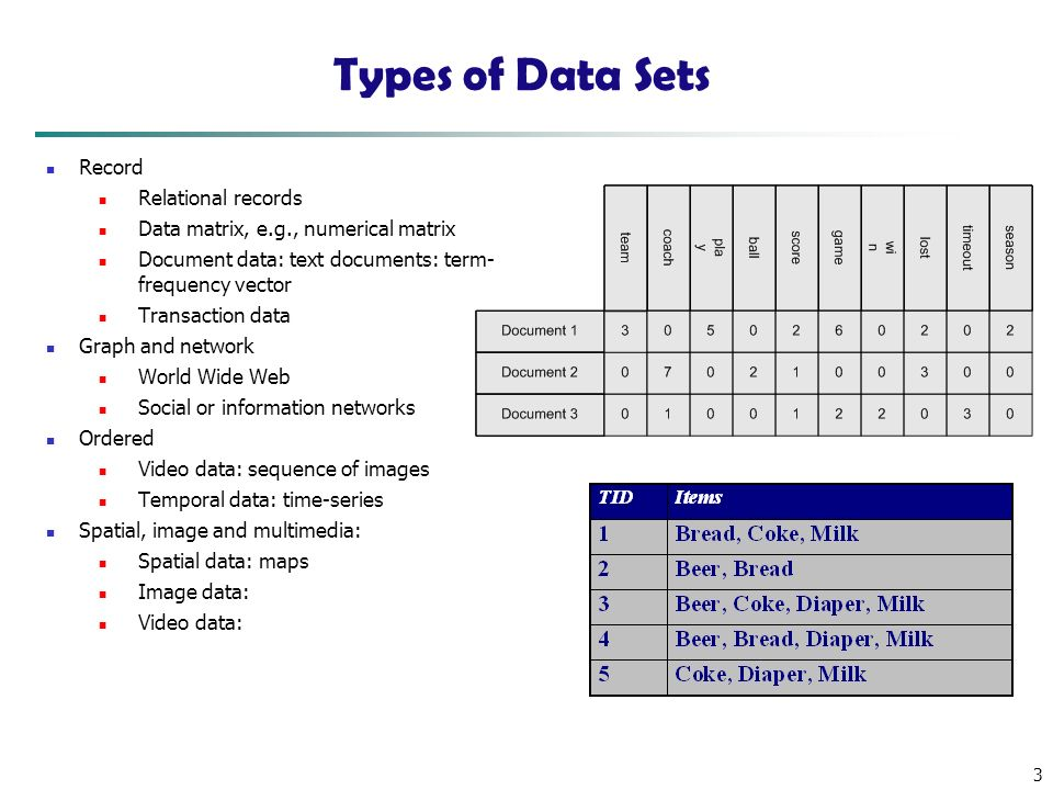 Types of Data Sets Record Relational records