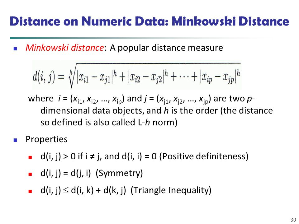Distance on Numeric Data: Minkowski Distance
