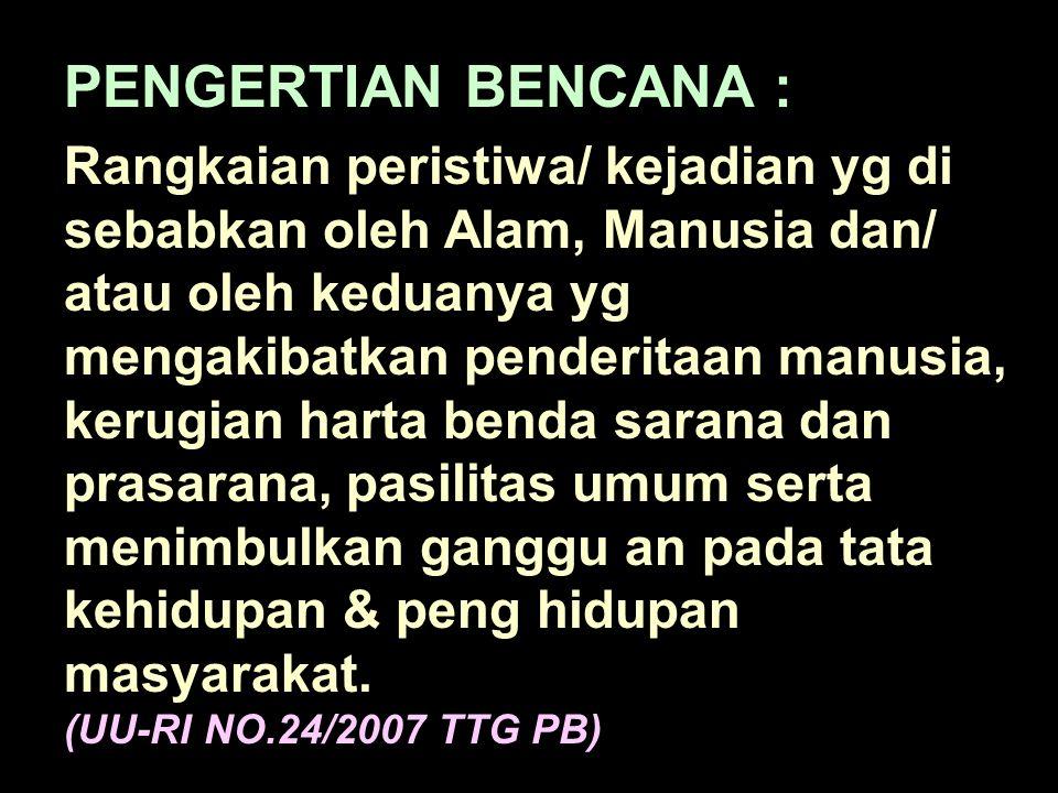 PENGERTIAN BENCANA :