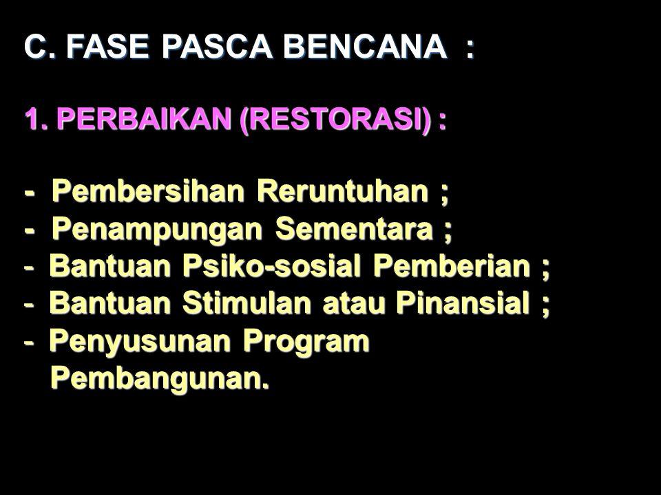 C. FASE PASCA BENCANA : - Pembersihan Reruntuhan ;