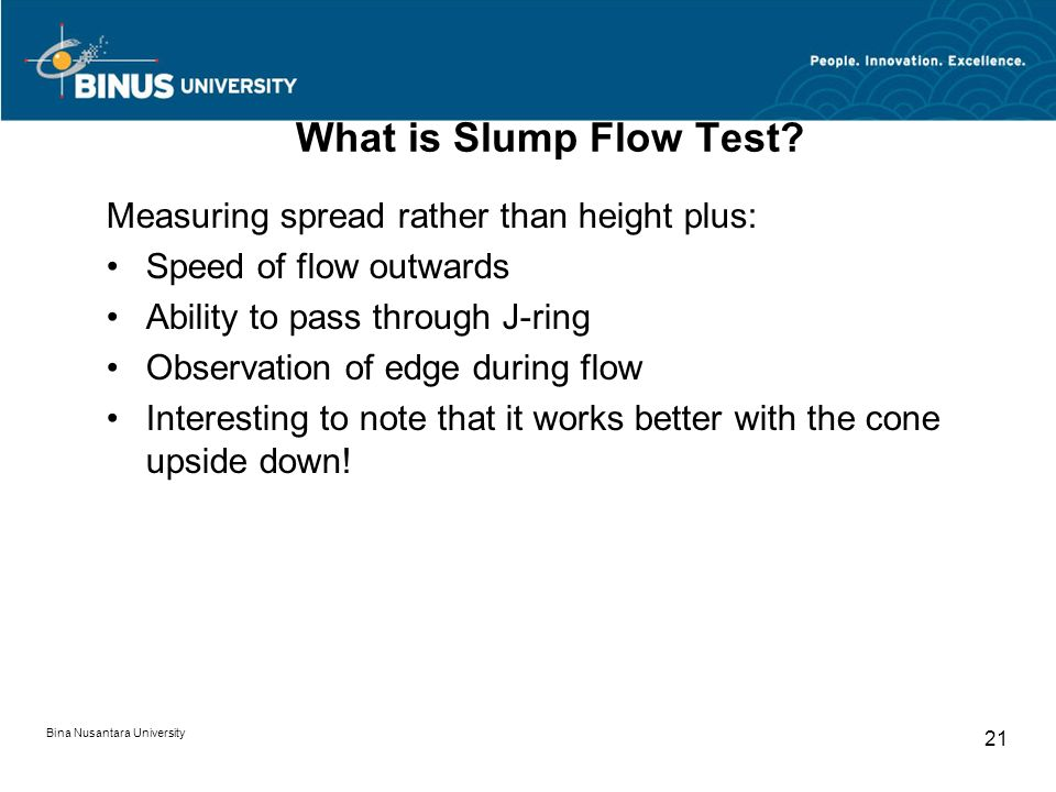 What is Slump Flow Test Measuring spread rather than height plus: