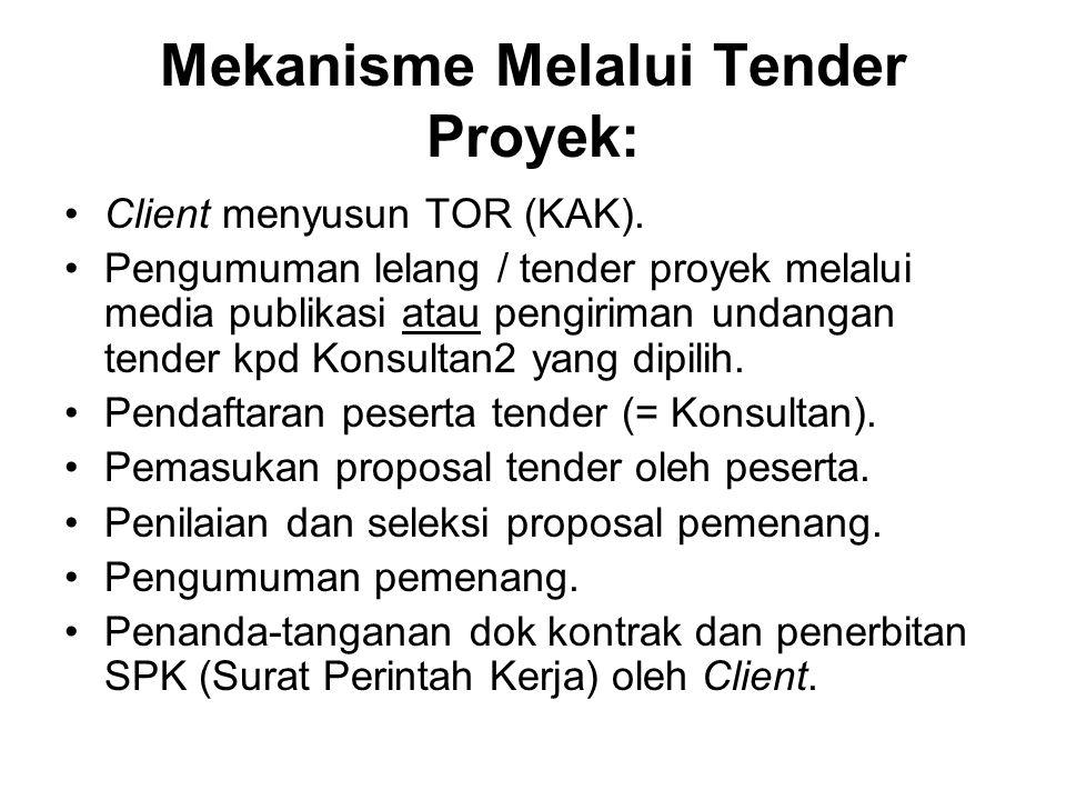 Mekanisme Melalui Tender Proyek: