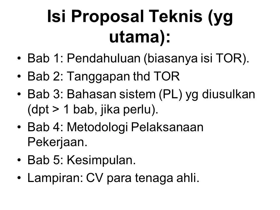 Isi Proposal Teknis (yg utama):