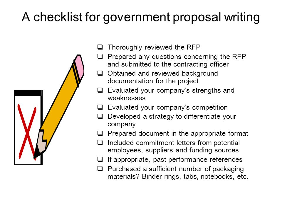 A checklist for government proposal writing