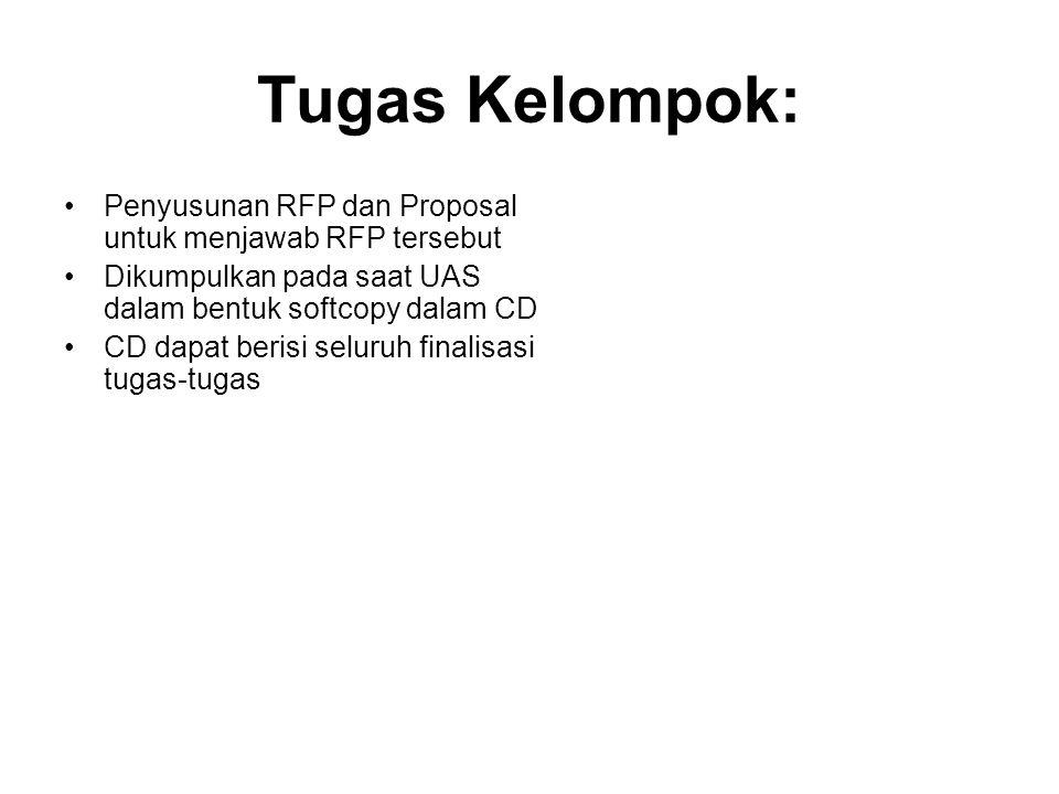 Tugas Kelompok: Penyusunan RFP dan Proposal untuk menjawab RFP tersebut. Dikumpulkan pada saat UAS dalam bentuk softcopy dalam CD.