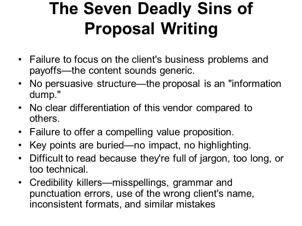 The Seven Deadly Sins of Proposal Writing
