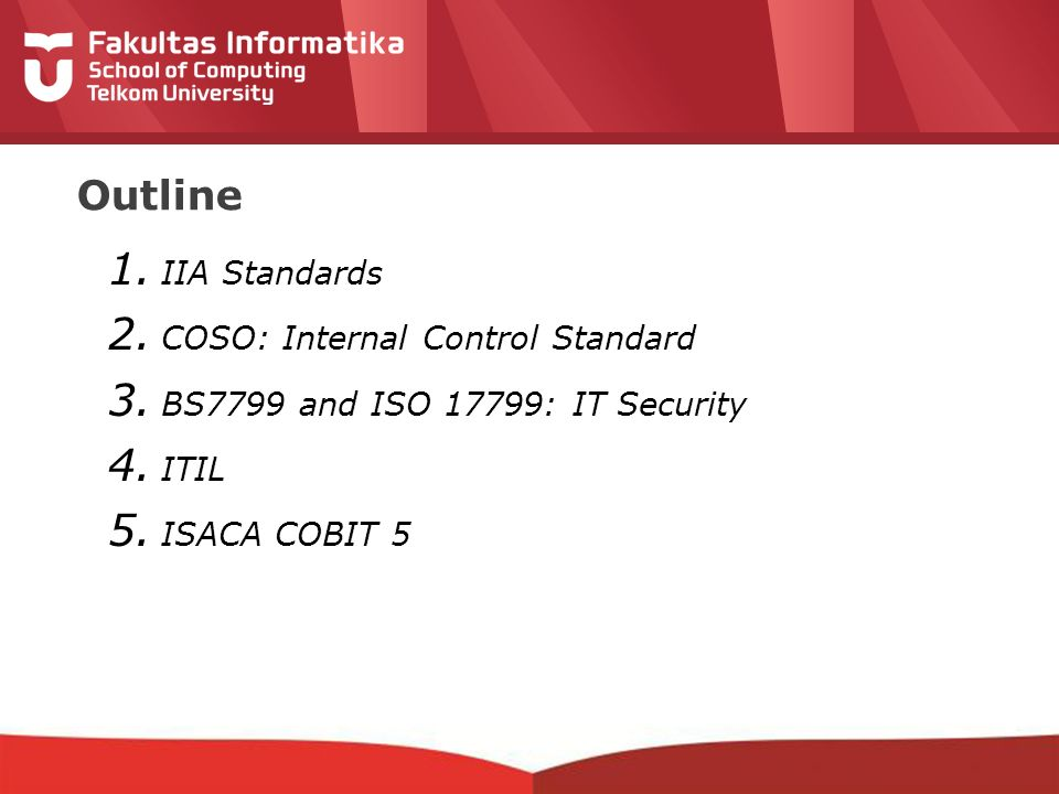 Outline IIA Standards COSO: Internal Control Standard