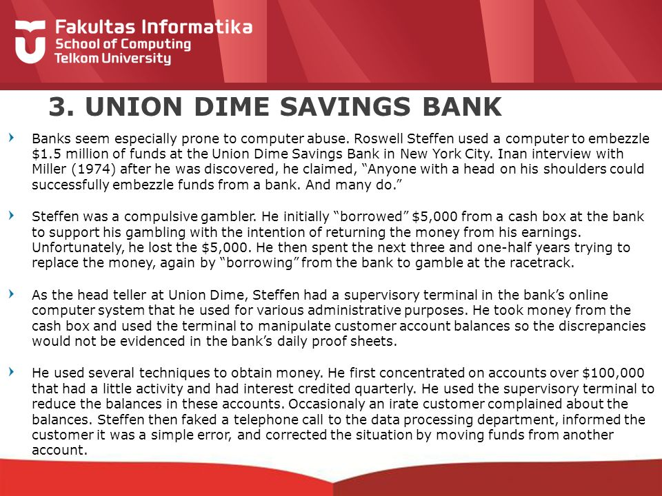 3. UNION DIME SAVINGS BANK