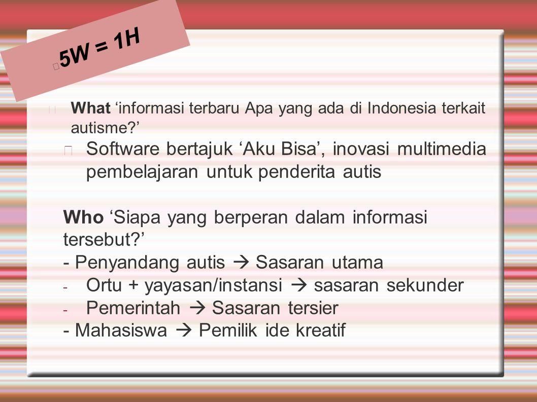5W = 1H What 'informasi terbaru Apa yang ada di Indonesia terkait autisme '