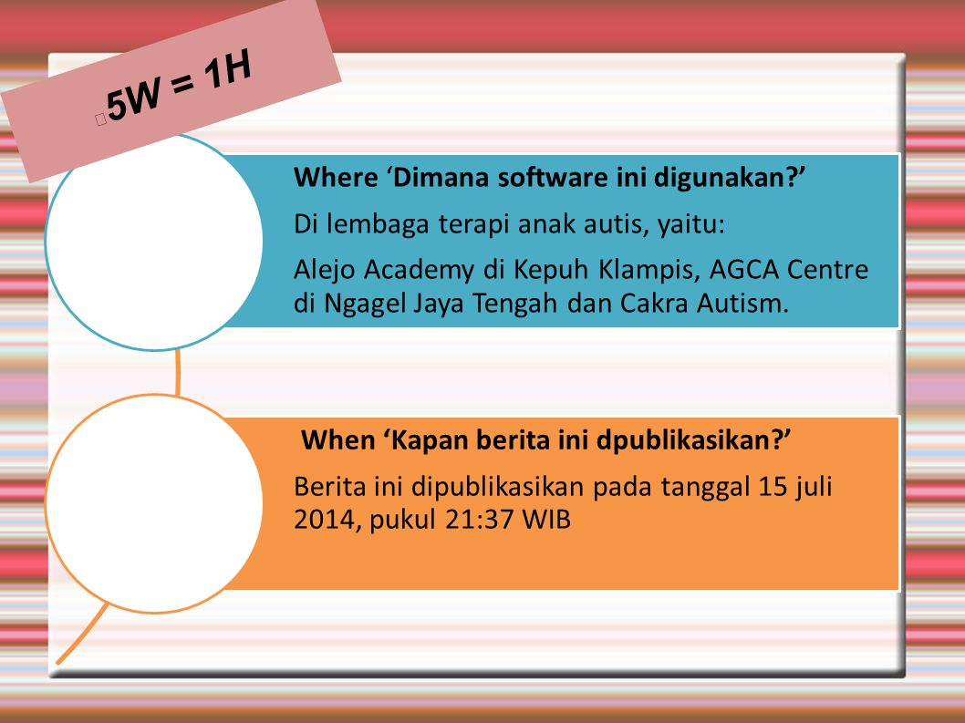 5W = 1H Where 'Dimana software ini digunakan '
