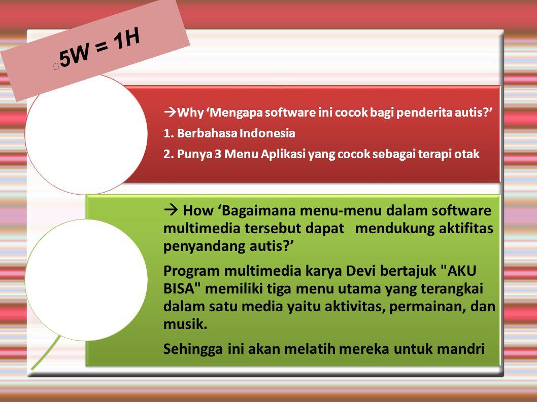 5W = 1H Why 'Mengapa software ini cocok bagi penderita autis ' 1. Berbahasa Indonesia. 2. Punya 3 Menu Aplikasi yang cocok sebagai terapi otak.