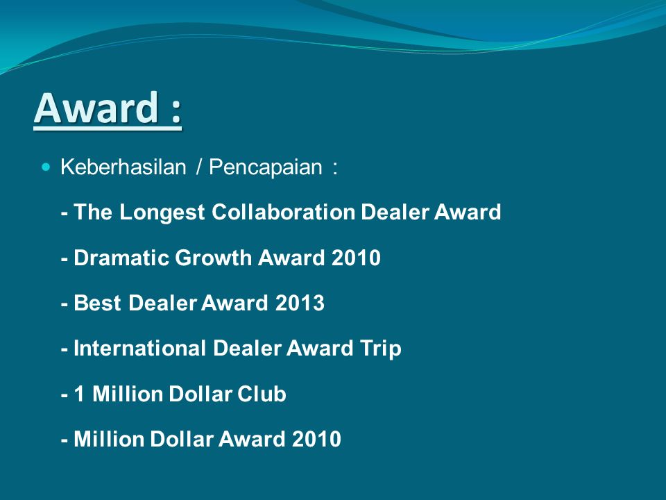 Award : Keberhasilan / Pencapaian :