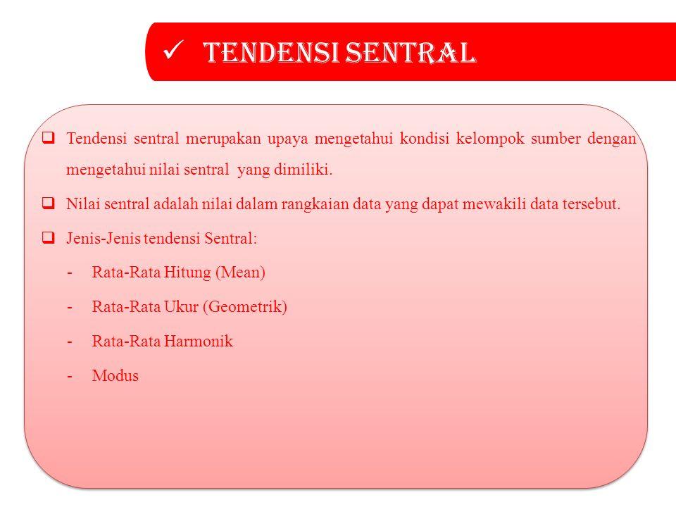 Tendensi sentral Tendensi sentral merupakan upaya mengetahui kondisi kelompok sumber dengan mengetahui nilai sentral yang dimiliki.