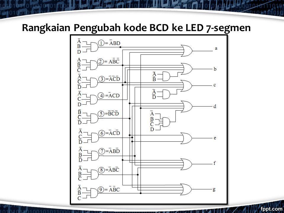 Rangkaian Pengubah kode BCD ke LED 7-segmen