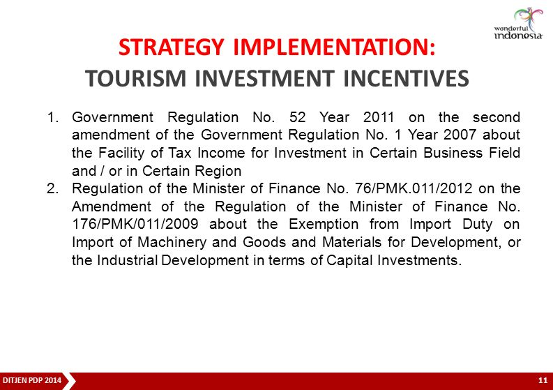STRATEGY IMPLEMENTATION: TOURISM INVESTMENT INCENTIVES