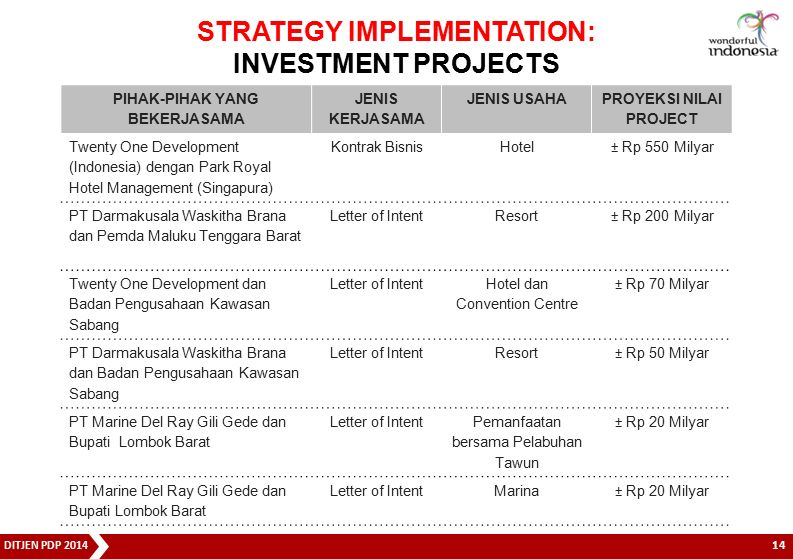 STRATEGY IMPLEMENTATION: INVESTMENT PROJECTS