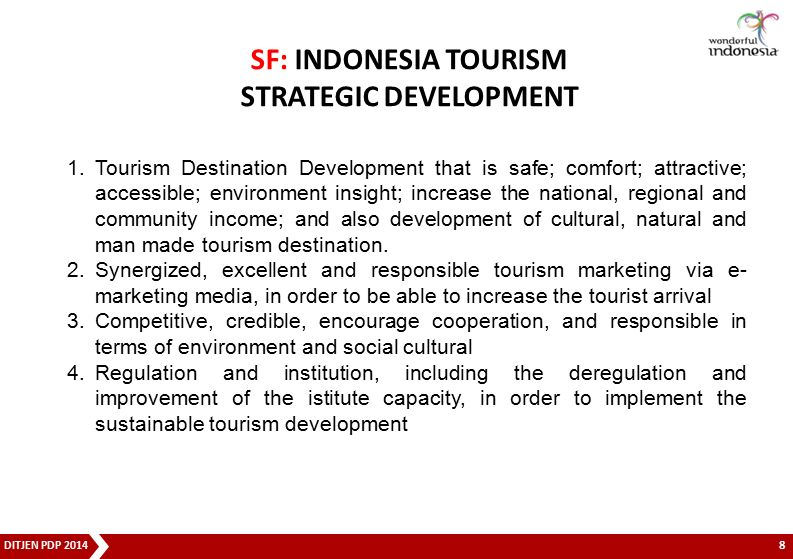 SF: INDONESIA TOURISM STRATEGIC DEVELOPMENT