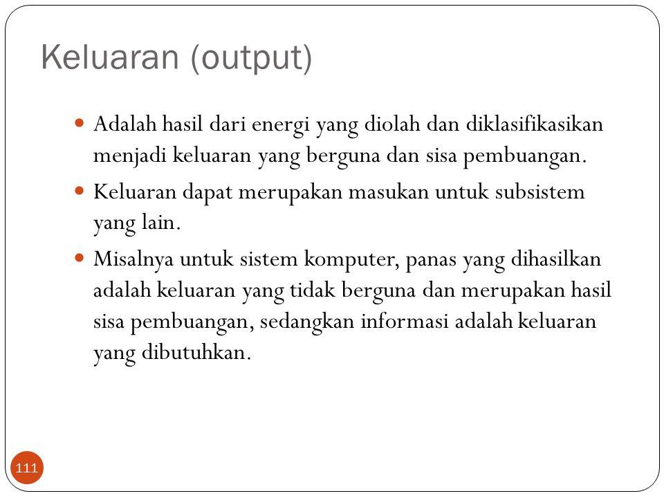 Keluaran (output) Adalah hasil dari energi yang diolah dan diklasifikasikan menjadi keluaran yang berguna dan sisa pembuangan.