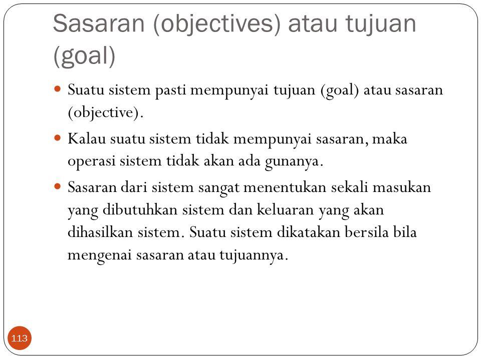 Sasaran (objectives) atau tujuan (goal)