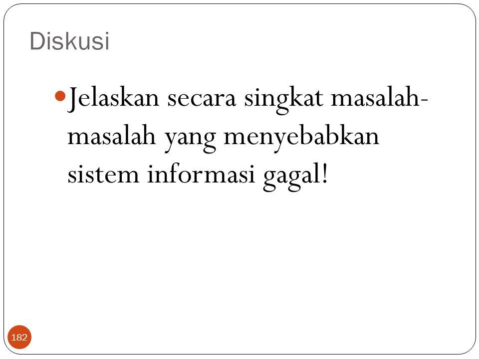 Diskusi Jelaskan secara singkat masalah- masalah yang menyebabkan sistem informasi gagal!