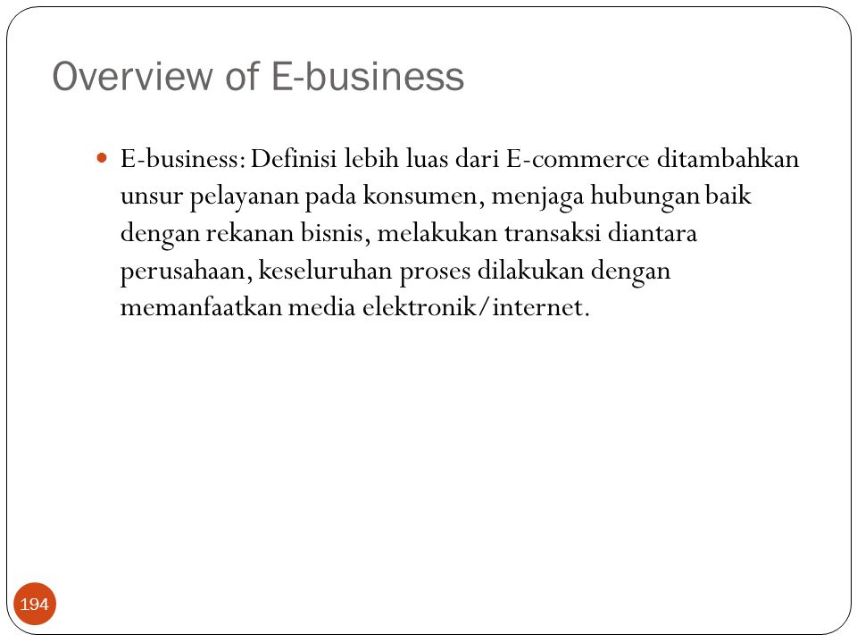 Overview of E-business