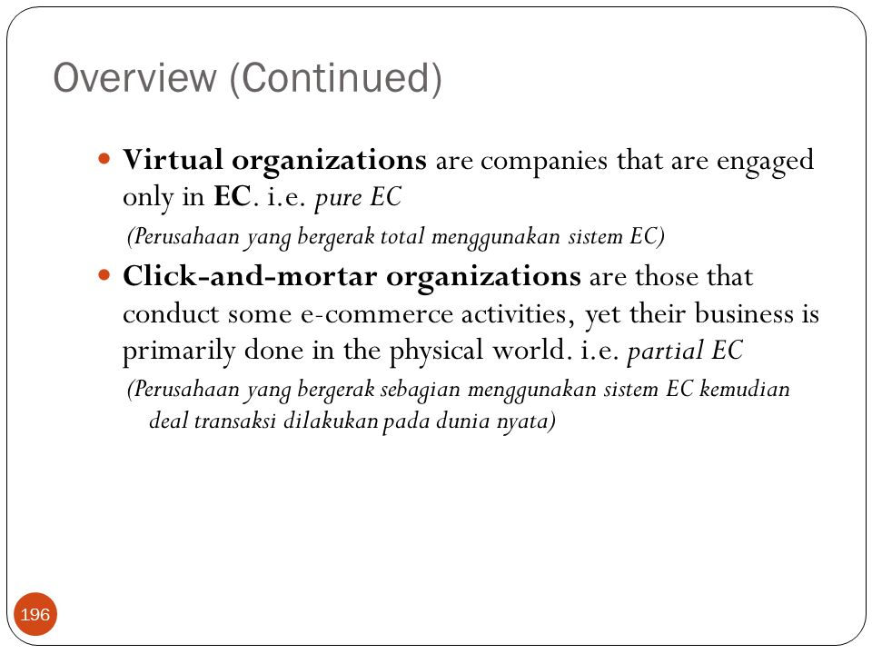 Overview (Continued) Virtual organizations are companies that are engaged only in EC. i.e. pure EC.