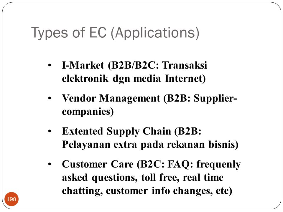 Types of EC (Applications)