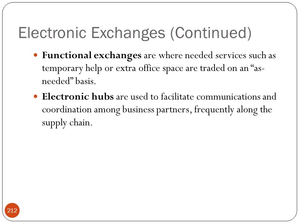 Electronic Exchanges (Continued)
