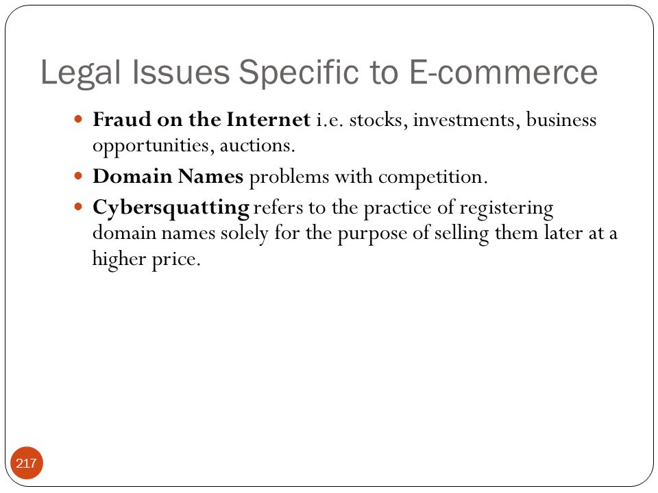 Legal Issues Specific to E-commerce