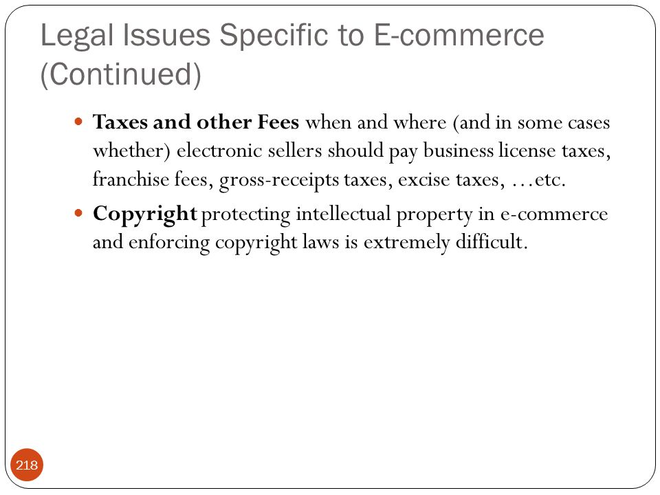 Legal Issues Specific to E-commerce (Continued)