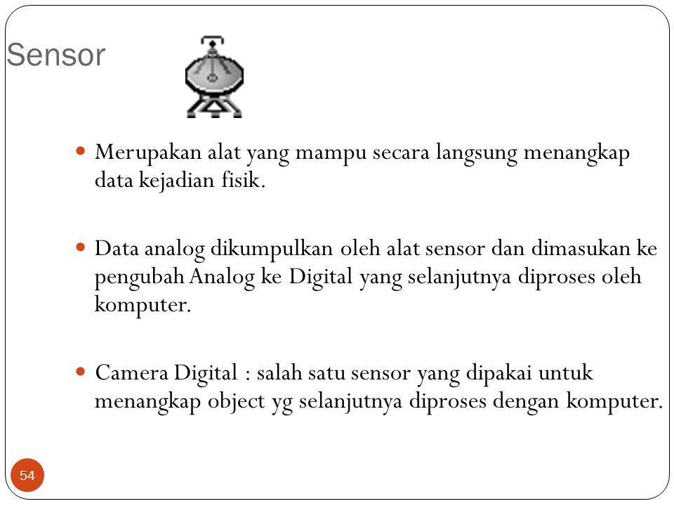 Sensor Merupakan alat yang mampu secara langsung menangkap data kejadian fisik.