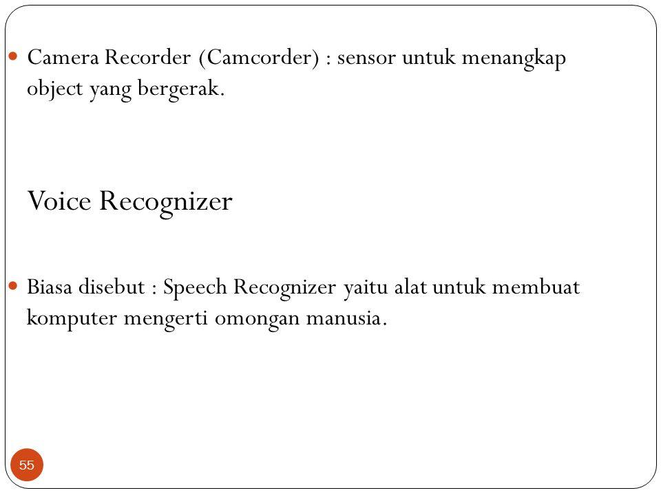 Camera Recorder (Camcorder) : sensor untuk menangkap object yang bergerak.
