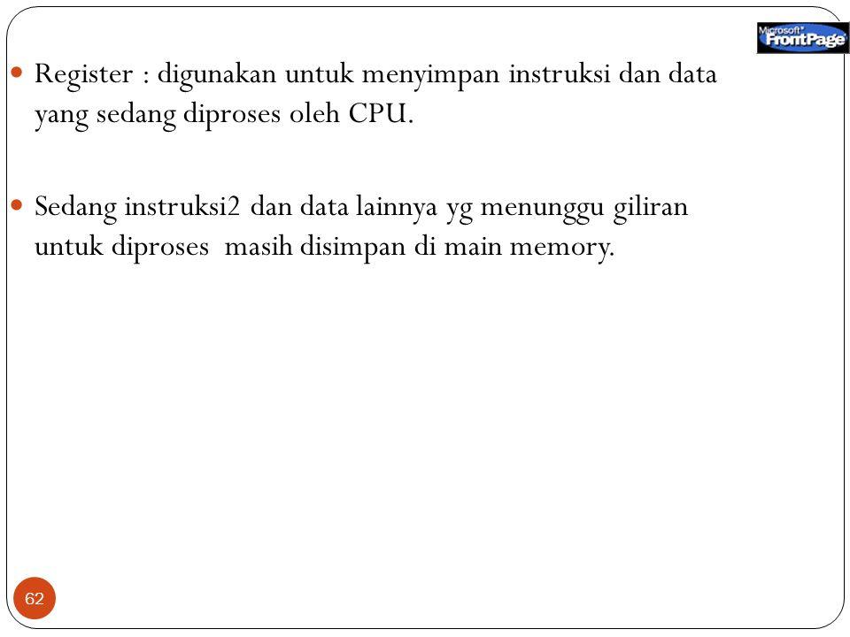 Register : digunakan untuk menyimpan instruksi dan data yang sedang diproses oleh CPU.