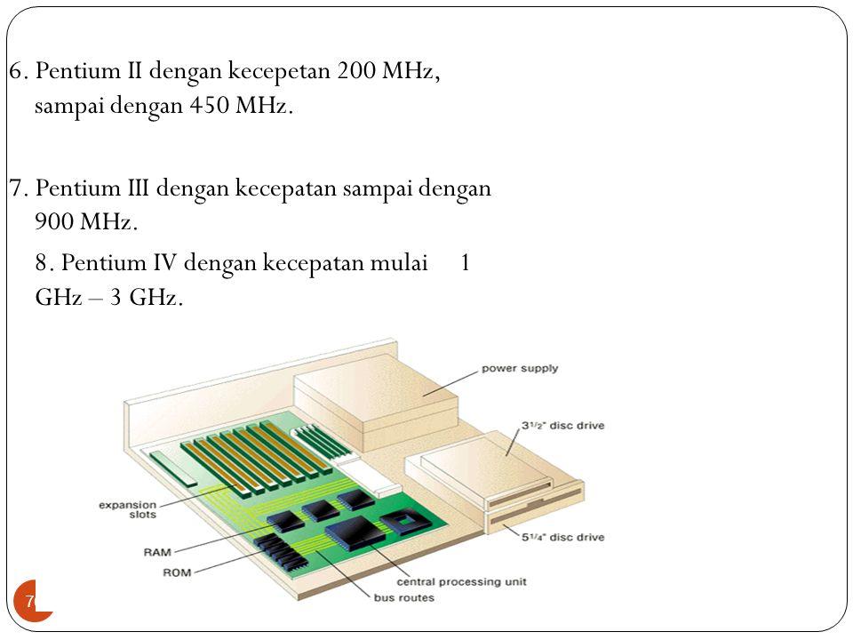 6. Pentium II dengan kecepetan 200 MHz, sampai dengan 450 MHz.