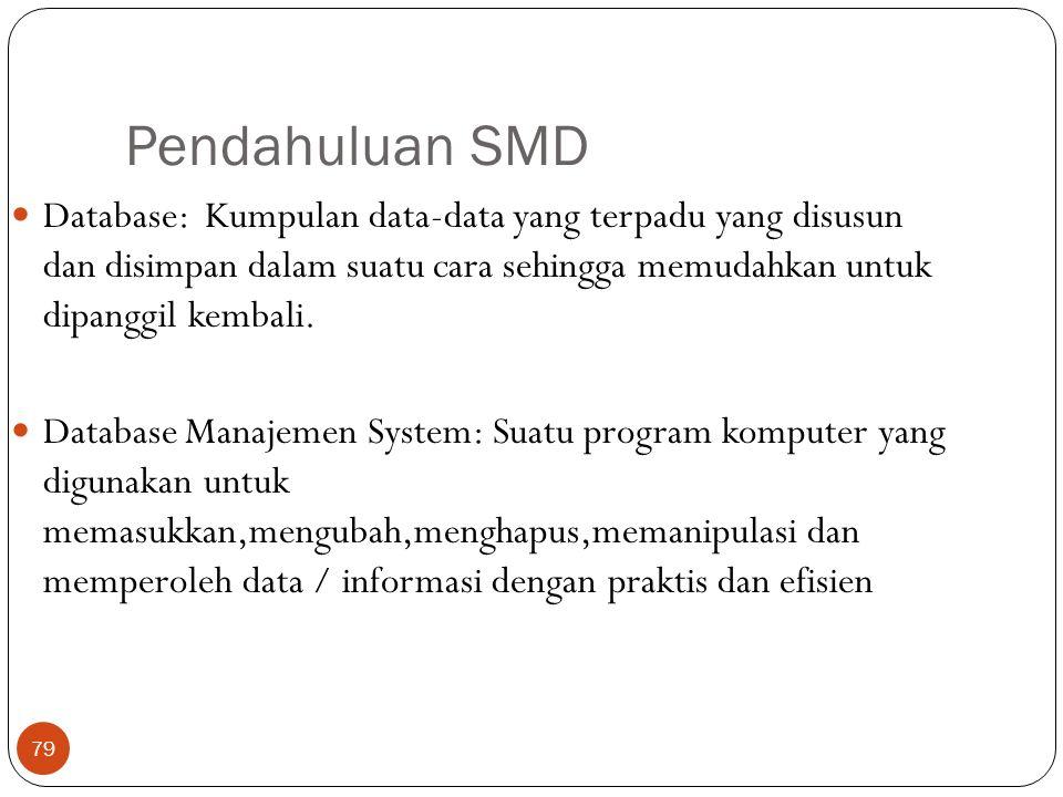 Pendahuluan SMD Database: Kumpulan data-data yang terpadu yang disusun dan disimpan dalam suatu cara sehingga memudahkan untuk dipanggil kembali.