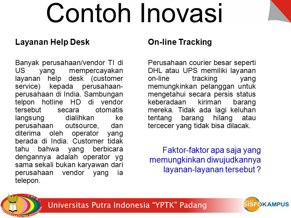 Contoh Inovasi Layanan Help Desk On-line Tracking