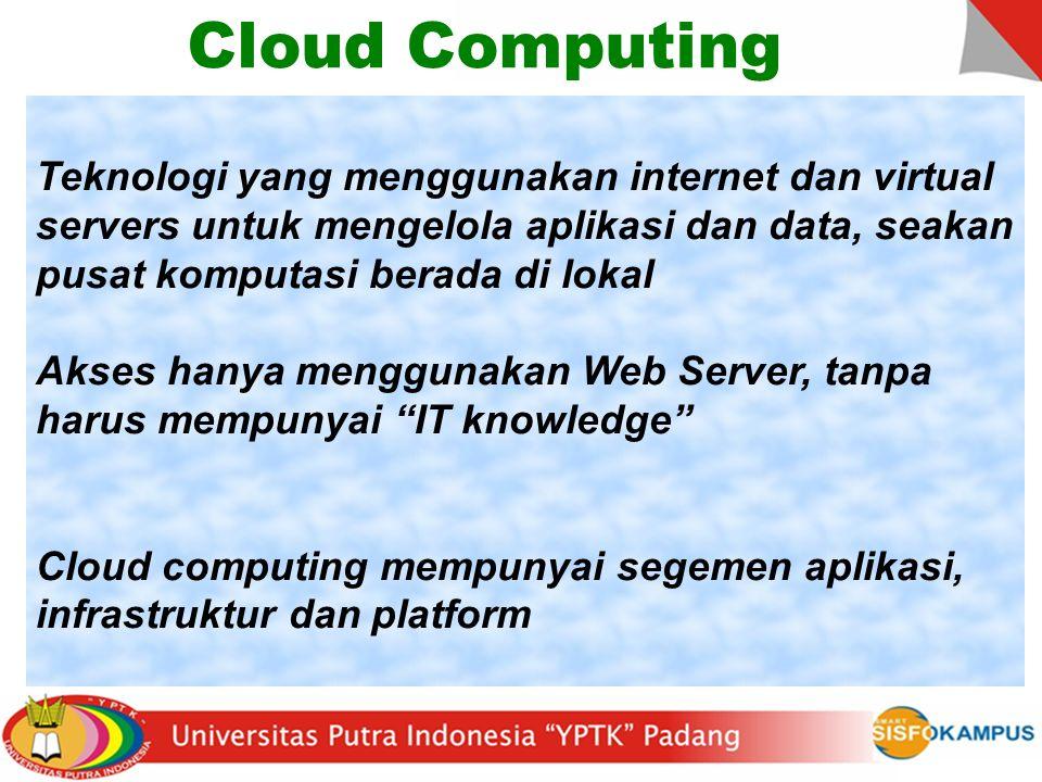 Cloud Computing Teknologi yang menggunakan internet dan virtual servers untuk mengelola aplikasi dan data, seakan pusat komputasi berada di lokal.