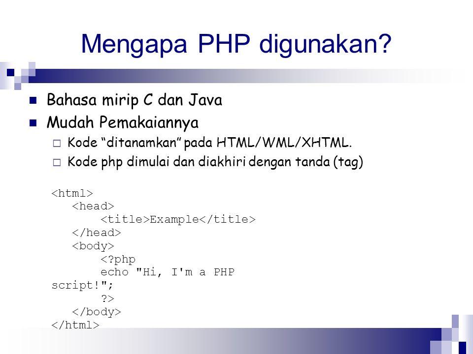 Mengapa PHP digunakan Bahasa mirip C dan Java Mudah Pemakaiannya