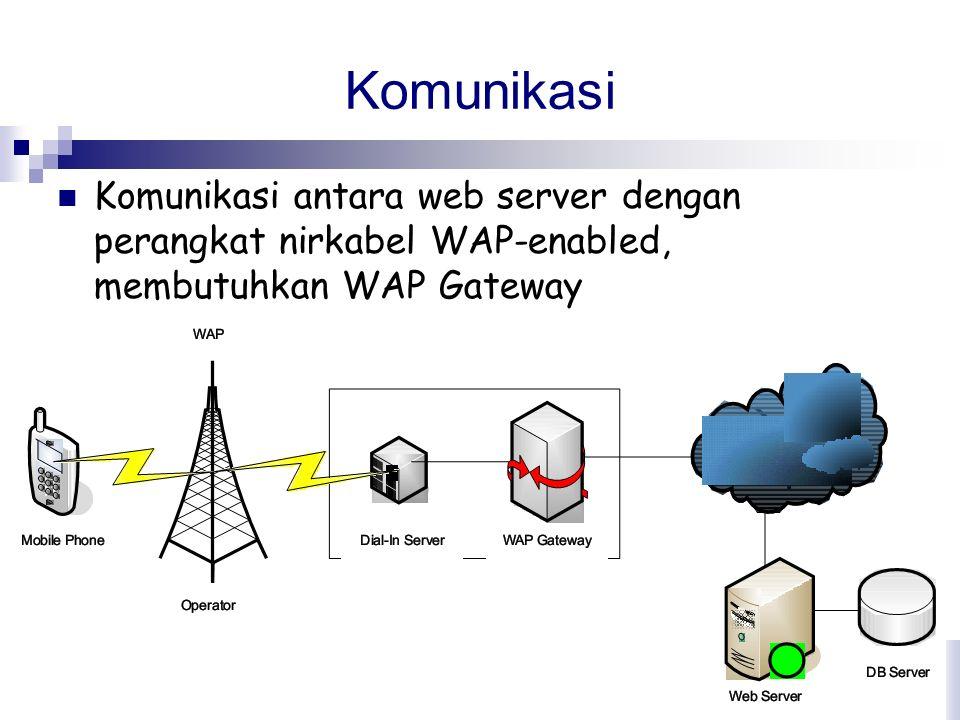 Komunikasi Komunikasi antara web server dengan perangkat nirkabel WAP-enabled, membutuhkan WAP Gateway.