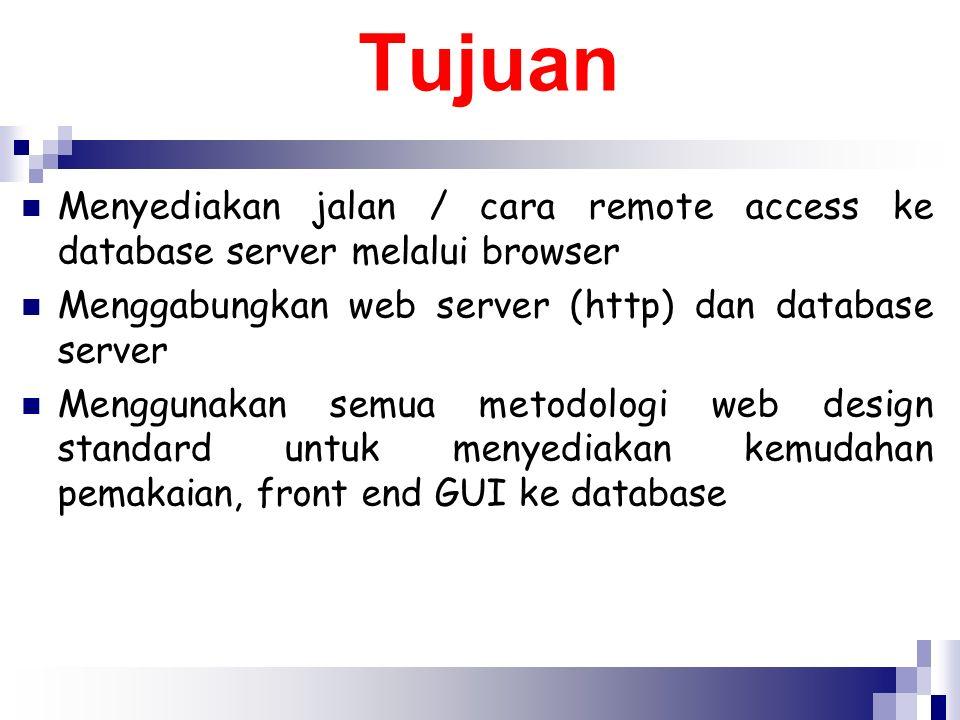 Tujuan Menyediakan jalan / cara remote access ke database server melalui browser. Menggabungkan web server (http) dan database server.